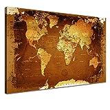 LANA KK Weltkarte Leinwandbild mit Korkrückwand zum pinnen der Reiseziele Deutsch Kunstdruck, retroBunt, 150 x 100 cm