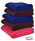 #7: Goyal's Fleece Single Bed Blanket, 55x88-inch, Blue, Red, Coffee - Set of 5