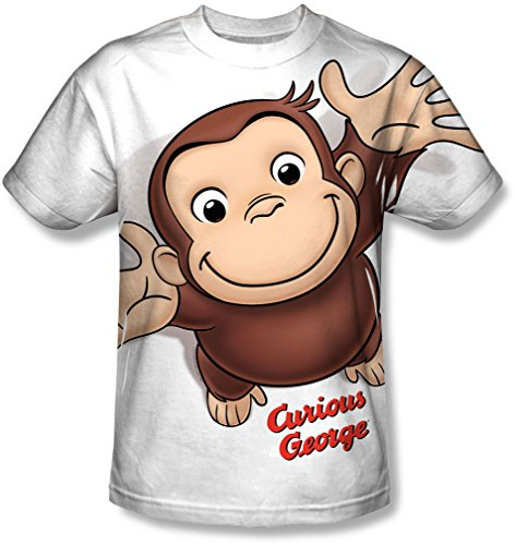 Curious George - Herren Hände in der Luft T-Shirt, XXX-Large, White
