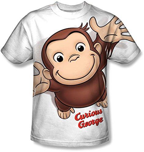 Curious George Erwachsene Kostüm Für - Curious George - Herren Hände in der Luft T-Shirt, XXX-Large, White
