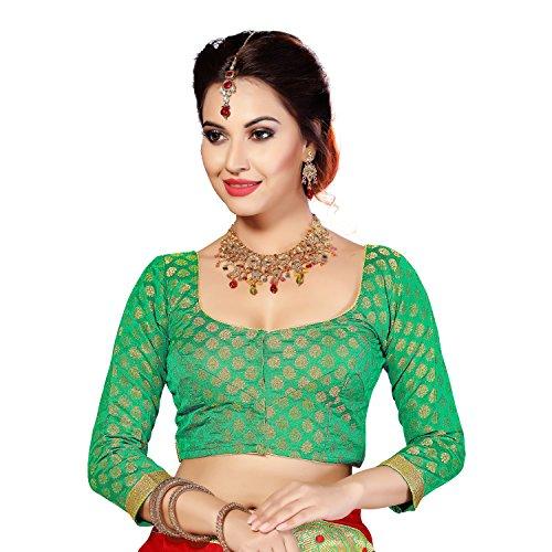 Studio Shringaar Green Brocade Long Sleeved Formal Blouse