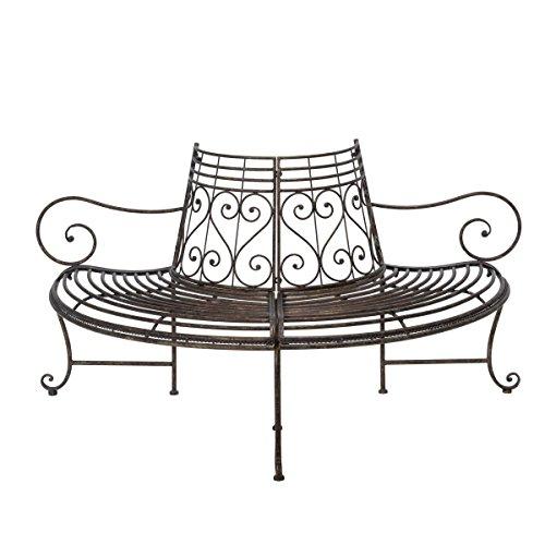 Gartenbank Baumbank - Halbrund mit Armlehnen - Antik Look - Metall
