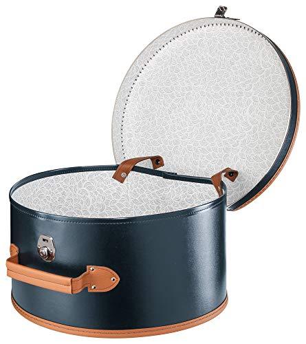 Lierys runder Hutkoffer blau   Maße: 40 cm x 21 cm   große Hutschachtel aus Kunstleder   Hutbox zur Aufbewahrung mit Tragegriff und Schloss   Koffer für Hüte   auch als Deko für die Wohnung