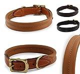 Fashion-Line von Pear Tannery: Hundehalsband aus weichem Vollrindleder, versehen mit einer Naht mittig, XL 53-61cm, hellbraun
