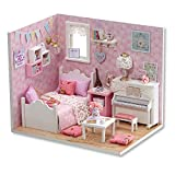 #6: Doll House - Sunshine Princess Series Wooden Handmade Dollhouse Miniature DIY Kit Creative Bedroom With Furniture and Accessories - Perfect Creative DIY Gift for Kids, Children, Teens, Friends, Families, Birthday/Valentine's Day By KARP - Pink Color