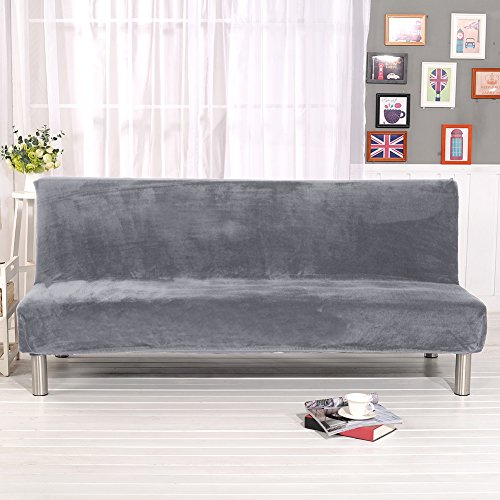 Solid Color Armless Sofa Covers, Plush Fabric Slipcovers Seater Couch Protector fits Folding Sofa Bed without Armrests