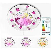 KIDSLICHT Kinderlampe Led Nachtlicht Prinzessin 037-2-WPi Lampe Kinderzimmer Baby Deckenleuchte Kinder Deckenlampe