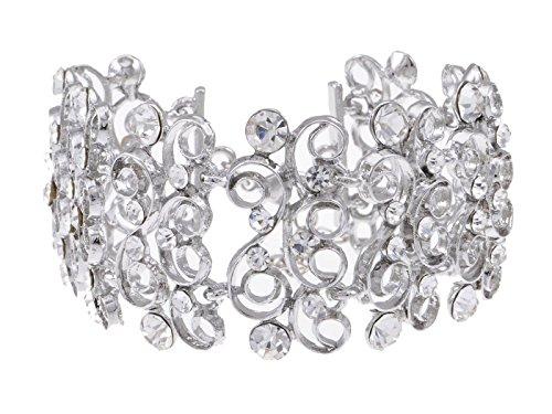 Alilang Frauen Braut Silber Kristall klar Rhinestones eingesperrtes Prinzessin Schleifen Armreif ()