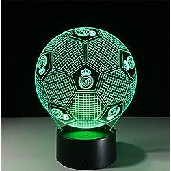 OOFAY LIGHT Fútbol Real Madrid Forma 3D Lámpara De Ilusión LED Luz De Noche Estéreo con Gradiente De 5 Colores Cuarto Lámpara De Escritorio para Niños Regalos Casa Decoración