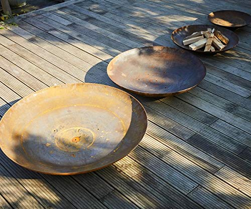 80cm Curved Corten Steel Fire Bowl/Burner/Outdoors/Bonfire/Garden Feature/Home and Garden
