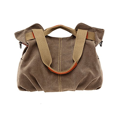 BYD - Mutil Function Female Borse a mano School Bag Shopping Bag Colorful Canvas Borse Tote Bag Borse a spalla with Double Strap Brown