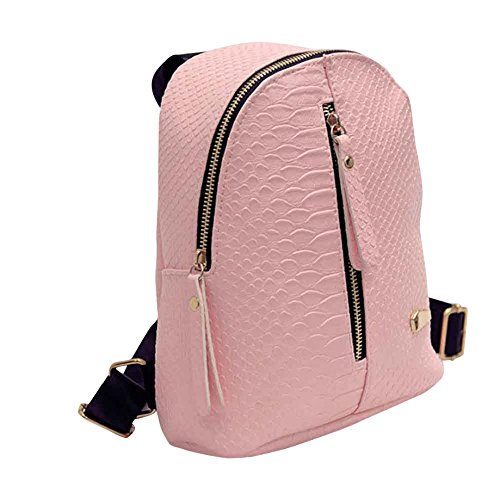 Coolster Damen Leder Reißverschluss Rucksäcke Schulranzen Reisebüro Umhängetasche (Rosa) (Capri-sandalen Kleine)
