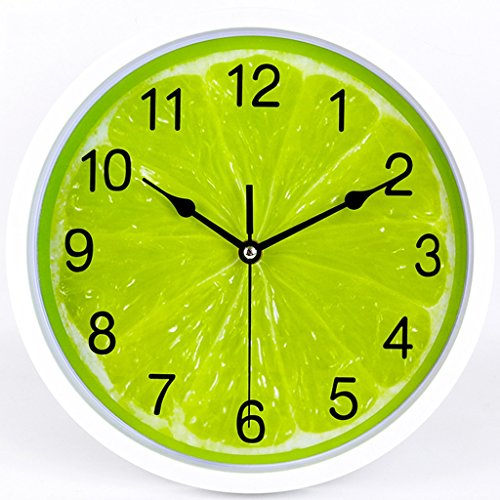 Horloges Murale Ronde en Plastique Vert Orange Murale Calme Chambre Simple (Size : 12 inches)