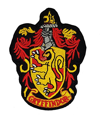 House of Gryffindor schwarz Boden Harry Potter Hogwarts House Wappen rot braun groß | Stickerei Hohe Qualität Eisen auf Sew auf Patch Abzeichen für Kleidung Jacken T-Shirts Mäntel Taschen Hüte Geldbeutel (Eisen Einheitliche)