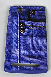 FUSON Premium Blue Jeans designer silicon back case cover for SONY XPERIA T2