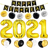 2021 Happy New Year Balloons Set Include 40 Inch 2021 Foil Number Balloon Happy New Year Banner with Latex Balloons, Black Gold and Silver Tissue Paper Pompoms for New Years Eve Party Decoration