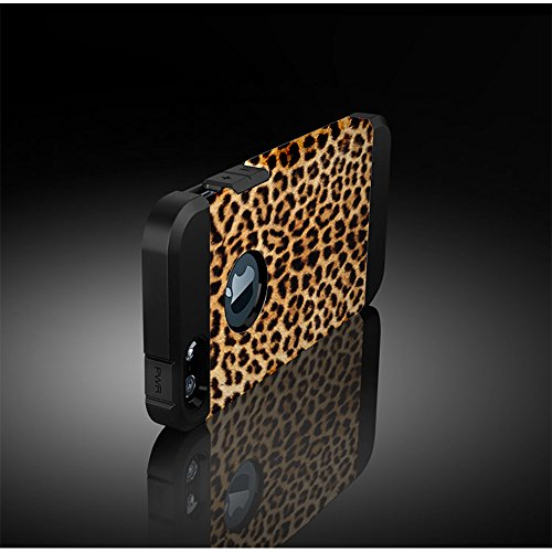 Custodia iPhone SE, Cover iPhone 5 / 5s, Alfort 2 in 1 Custodia Protettiva Premium PC Duro + TPU di alta qualità Flip Case Cover per Apple iPhone SE / 5 / 5s 4.0 Smartphone Immagine Camuffamento per  Linee di leopardo