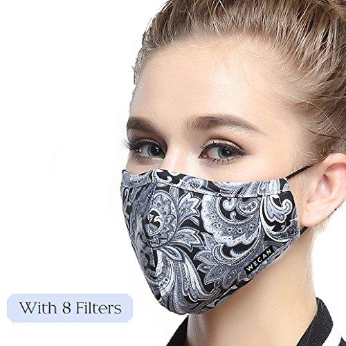Lyanty - N99, Maschera anti inquinamento di grado militare, in cotone, lavabile, e con filtro sostituibile (una maschera + 8filtri), multicolore