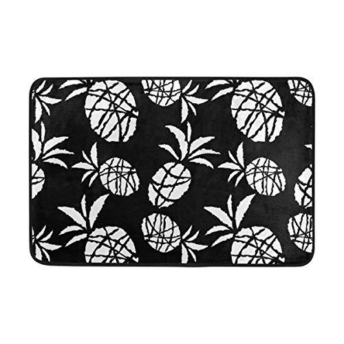 Klotr Fußabtreter, Black and White Scartoon Sketch Pineapples Anti-Slip Mat Indoor/Outdoor Washable Garden Office Door Mat,Rug Doormat 23.6x15.7 Inch Home Decor -
