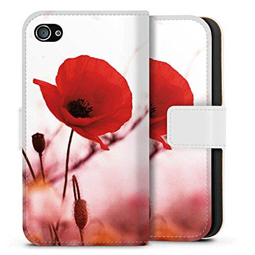 Apple iPhone X Silikon Hülle Case Schutzhülle Mohnblume Blüten Klatschmohn Sideflip Tasche weiß