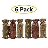 Eklead Weinflasche Geschenktüten - Sackleinen Flasche Wein Taschen, Weihnachten Weinflasche Abdeckung Verpackung Wein Taschen mit Kordelzug für Hochzeit Weihnachtsdekoration (5,9 x 14,6 Zoll)