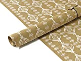 TDB 3 leaves Kraft Gift Wrapping Paper Pack of 6 Sheets with 12 Gift Tags and 6m ribbon/paper rope