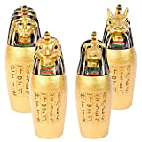 Set of 4 Egyptian Gold God Canopic Jars Statue Figure Ornament Ancient Egypt