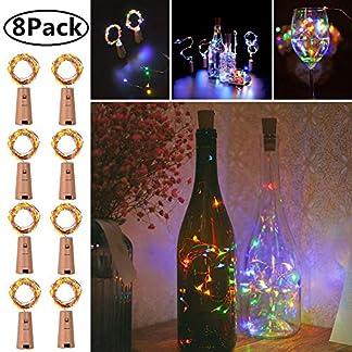 Luces para botella de vino con corcho, 8 unidades de luces de hadas estrelladas a pilas, 6.6 pies, 20 luces LED en forma de corcho, alambre de cobre plateado para fiestas, decoración de Navidad, Halloween y bodas