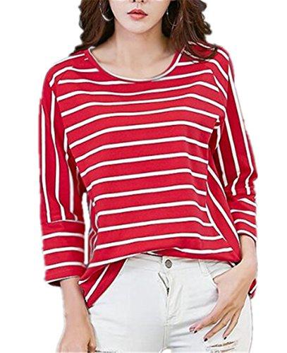 Gogofuture Donna Classico Maglietta Manica Lunga Girocollo Taglie Forti Allentato Maglie A Righe Camicetta T-Shirt Eleganti Top Casuale Per Le Donne Red
