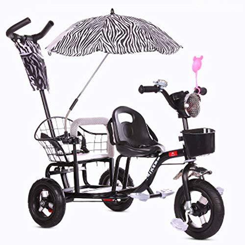 JHGK Tandem-Dreirad Für Kinder, Tandem-Dreirad, Fahrrad Mit Sonnenschirmmusik, Leichtes Titanrad-Schubdreirad, Kinder-Zwillingsdreirad Aus Karbonstahl Tricycle,Schwarz
