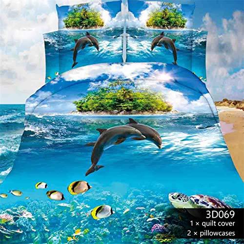 KenYosns Atmungsaktiver Stoff 3D-Bettwäsche-Set Dolphin Print Bettbezug naturgetreue Bettwäsche Kissenbezug Color10 200x230cm -
