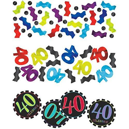 amscan 3Pack gemischt zum 40. Geburtstag Konfetti