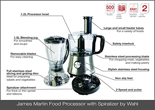 511WDk4B YL - Wahl James Martin Food Processor Compact with Spiralizer, 500 W, 1.5 Litre with Spiralizer Electric, Ice Crushing 1 L…