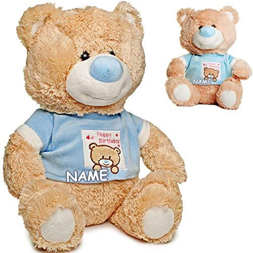 alles-meine.de GmbH großes XL - Plüschtier - Teddy Bär - zum Geburtstag - Geburtstagsbärchen für Jungen - Happy Birthday - inkl. Name - 43 cm - blau / hellblau - superweich - STO..