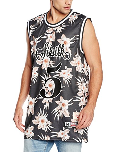SikSilk-Hawaii-Basketball-Vest-Camiseta-sin-Mangas-para-Hombre-Negro-X-Large
