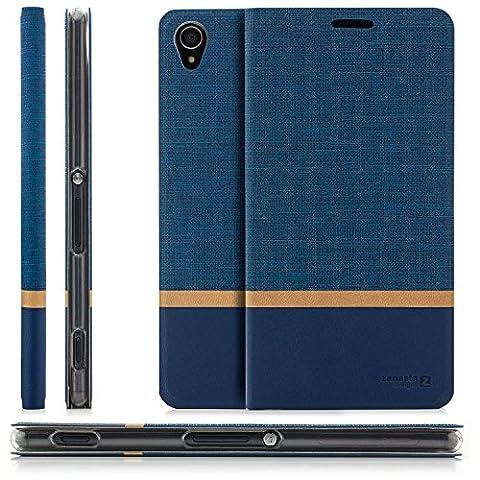 Zanasta Designs Tasche Sony Xperia XZ Hülle Flip Case Schutzhülle Handytasche mit Kartenfach Blau