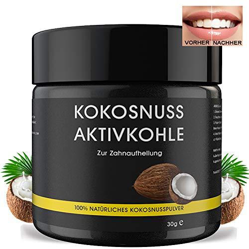 Premium Kokosnuss Aktivkohle Pulver zur natürlichen Zahnaufhellung für weiße Zähne | Zahnbleaching 100% REIN ohne Zusatzstoffe | VEGAN | Activated Charcoal | Zahnpasta | Charcoal Bleaching
