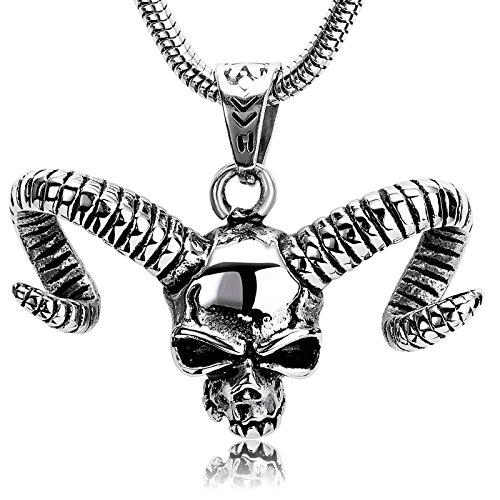Beydodo Collar Acero Inoxidable Hombre Collar Colgante Cabeza de Animal Collar Punk Hombre Collar Estilo 3