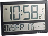 infactory Jumbo Uhr: Digitale Funk-Wanduhr mit Jumbo-LCD-Display und Außensensor, 3 Kanäle (Funk Wanduhr Digital groß)
