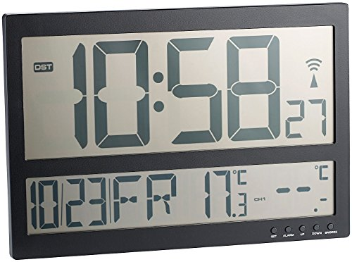 infactory Wanduhr Digital groß: Digitale Funk-Wanduhr mit Jumbo-LCD-Display und Außensensor, 3 Kanäle (Jumbo Uhr)