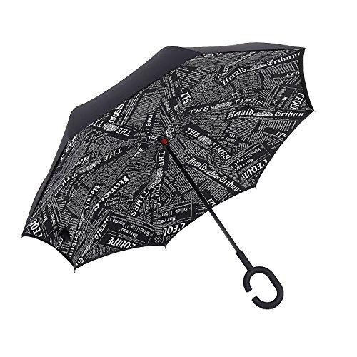 iTrunk Parapluie Pliant à Double Couche Avec Poignée Mains Libres en Forme de C - Protection UV, à épreuve du Vent, Imperméable à l'extérieur et Utili...