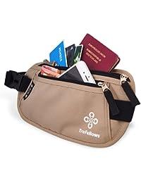 Riñonera de Viaje de Calidad con Bloqueo RFID para Hombre y Mujer | Cartera de Cintura Ligera cómoda | Bolsa de cinturón para Deportistas y viajeros | Cartera riñonera Plana espaciosa
