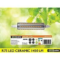 ECOBELLE® Lampadina LED R7s con base in Ceramica, 11.5W, 1450 Lumen, Bianco Caldo 3000K, Dimensioni: 22 x 118 mm (slim)