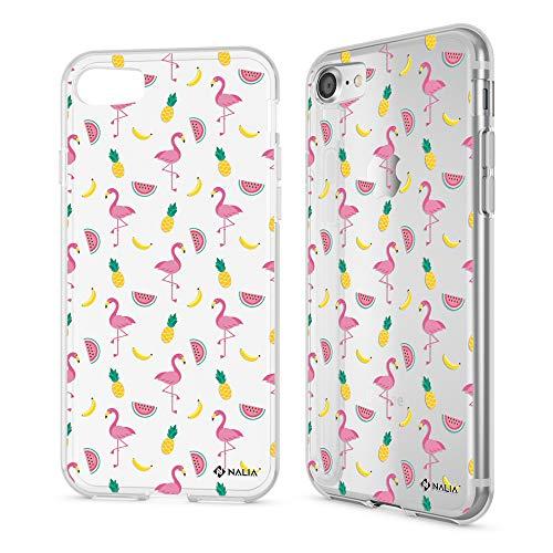 NALIA Carcasa para iPhone 8/7, Funda Silicona Ultra-Fina Gel Transparente Movil Protectora, Cubierta Goma Bumper Case, Cristal Clear Cover para Telefono IP-7 IP-8, Designs:Fiesta de Flamenco