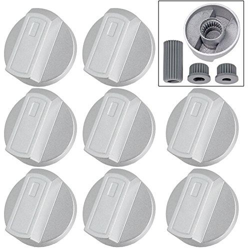 Spares2go Encimera Mando De Control Interruptor para AEG Horno Cocina (Pack de 8), color plateado