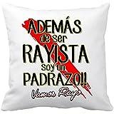 Cojín con relleno Rayo Vallecano además de ser Rayista soy un padrazo - Blanco, 35 x 35 cm