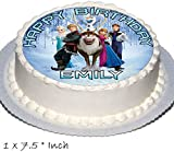 Frozen Birthday Cake Party Set Toppers with Any Name Includes Elsa, Anna, Olaf on Real Icing RD