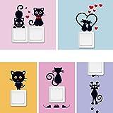 Stonges 5 pcs Chat Wall Sticker Interrupteur de Lumière Décor Wall Art Mural Maison Chambres Décoration