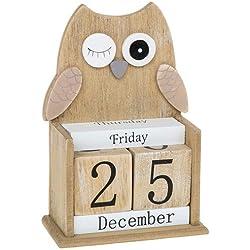 Calendario perpetuo de bloques de madera, con diseño de búho guiñando un ojo