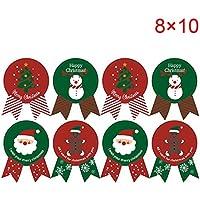 Espeedy Navidad Pegatinas,80pcs Navidad Etiqueta de Papel Adhesivo Regalo Paquete Sellado Pegatinas para Galletas